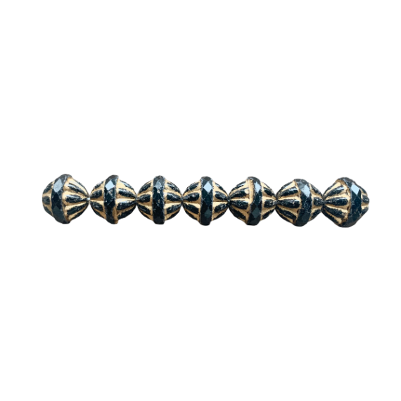 Cristallo repubblica ceca nero e oro con rondella sfaccettata 12 x 14 mm