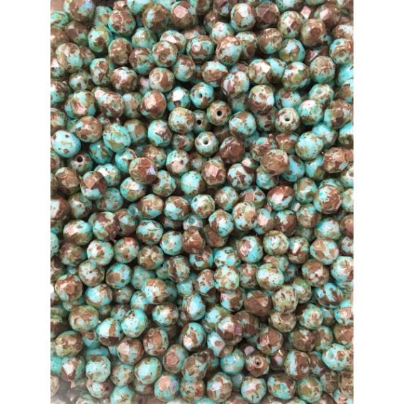 Cristallo repubblica ceca 6 mm  turchese/tortora (confezione 50 pz)