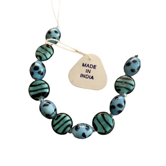 Perle vetro indiano bluette e nero 15mm/18mm